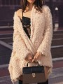 Apricot Faux Fur Oversize V-neck Long Sleeve Fashion Coat
