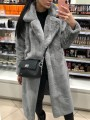 Grey Faux Fur Pockets Turndown Collar Long Sleeve Oversize Fashion Coat