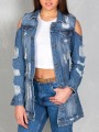 Blue Cut Out Pockets Single Breasted Long Sleeve Ripped Destroyed Jeans Coat