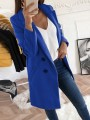 Blue Double Breasted Pockets Turndown Collar Long Sleeve Wool Coat