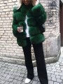 Green Faux Fur Band Collar Long Sleeve Fashion Oversize Coat