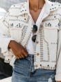 White Patchwork Retro Buttons Studded Turndown Collar Long Sleeve Fashion Outerwear