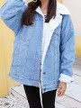 Light Blue Single Breasted Pockets Turndown Collar Oversize Lambswool Jeans Coat