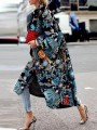 Blue Floral Turndown Collar Long Sleeve Fashion Oversize Wool Coat
