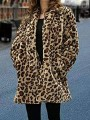 Brown Faux Fur Leopard Print Pockets Long Sleeve Fashion Coat