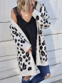 White Leopard Pockets Others Long Sleeve Fashion Cardigan Sweater