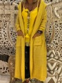 Yellow Pockets Hooded Long Sleeve Oversize Cardigan Sweater