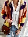 Purple Pink Patchwork Buttons Long Sleeve Fashion Cardigan Sweater