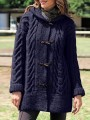 Navy Blue Patchwork Buttons Oversize Hooded Long Sleeve Fashion Cardigan Sweater