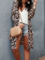 Brown Leopard Draped Kimono Cover Up Long Sleeve Vintage Cardigan Sweater