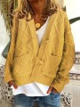 Yellow Pockets Buttons Long Sleeve Oversize Cardigan Sweater