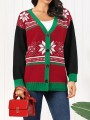 Green Red Christmas Floral Single Breasted Long Sleeve Oversize Cardigan Sweater