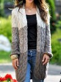 Coffee White Patchwork V-neck Long Sleeve Oversize Cardigan Sweater