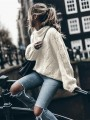 White Patchwork Long Sleeve High Neck Fashion Pullover Sweater