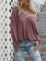 Pink Patchwork Long Sleeve V-neck Fashion Pullover Sweater
