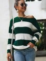 Green White Striped One Shoulder Long Sleeve Pullover Sweater