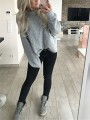Grey Patchwork Pearl Bodycon Round Neck Long Sleeve Sweet Sweater