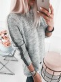 Grey Striped Print Round Neck Long Sleeve Pullover Sweater