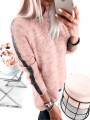 Pink Striped Print Round Neck Long Sleeve Pullover Sweater