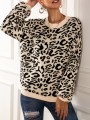 Black Leopard Print Round Neck Long Sleeve Oversize Pullover Sweater