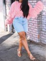 Pink Patchwork Sequin Tassel Knit Fuzzy Sparkly Crop NYE Party Pullover Sweater