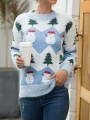 Blue Snowman Floral Round Neck Long Sleeve Christmas Pullover Sweater