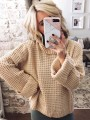 Apricot Turndown Collar Long Sleeve Oversize Pullover Fashion Sweater