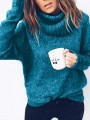 Green High Neck Long Sleeve Fashion Oversize Pullover Sweater