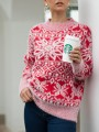 Red Snowflake Pattern Round Neck Long Sleeve Pullover Sweater