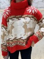 Red Christmas Print High Neck Long Sleeve Pullover Sweater