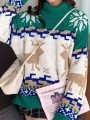 Green Christmas Print High Neck Long Sleeve Pullover Sweater