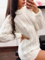 White Turndown Collar Long Sleeve Oversize Pullover Fashion Sweater