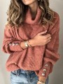 Pink Single Breasted High Neck Lantern Sleeve Cowl Neck Elegant Pullover Sweater