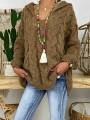 Coffee Hooded Long Sleeve Oversize Fashion Pullover Sweater