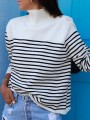 Black White Striped Print High Neck Long Sleeve Pullover Sweater