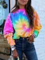 Pink Colorful Print Round Neck Long Sleeve Fashion Sweatshirt