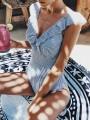 Light Blue Striped Ruffle V-nevk Swimsuit Beach Women One-Piece Swimwear