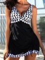 Black Patchwork 2-in-1 Print Drawstring Backless V-neck Fashion Tankini Swimwear