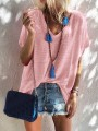 Pink Bodycon Comfy V-neck Short Sleeve Going out T-Shirt