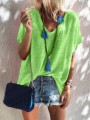 Green Bodycon Comfy V-neck Short Sleeve Going out T-Shirt