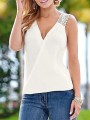 White Patchwork Cut Out Backless V-neck Fashion T-Shirt