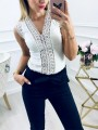White Lace Patchwork Sweet Comfy Going out V-neck T-Shirt