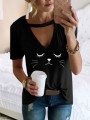 Black Cut Out Fashion Cute Comfy Going out T-Shirt