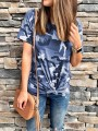 Blue Camouflage Round Neck Short Sleeve Fashion Going out T-Shirt