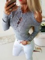 Grey Patchwork Lace Comfy Going out Round Neck T-Shirt