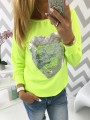 Yellow Sequin Going out Comfy Fashion Round Neck T-Shirt