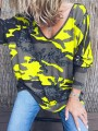 Yellow Camouflage V-neck Long Sleeve Casual T-Shirt