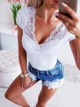 White Patchwork Lace Backless Bodycon Comfy Going out T-Shirt
