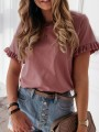 Pink Ruffle Oversize Round Neck Short Sleeve Fashion T-Shirt