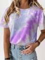 Purple Color Block Tie Dye Round Neck Short Sleeve Casual T-Shirt